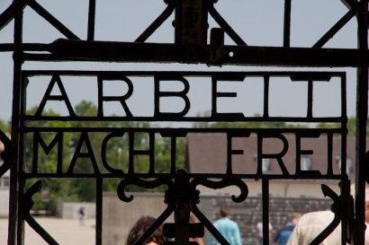 Entrance gate to Dachau concentration camp.