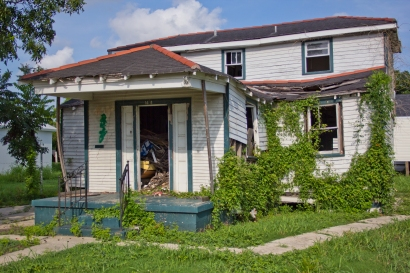 In the photo you can see the spray paint indicating number of deaths on the houses 5 years after the hurricane consumed the area.