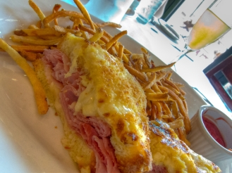 Croque Monsier=Ham and cheese sandwich with cheese melted on top (Madame also has an egg)