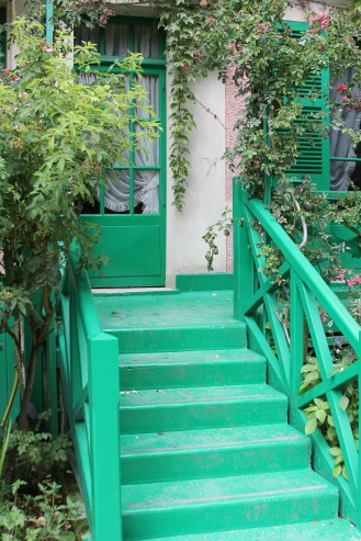 green stair at monet's home in giverny, france