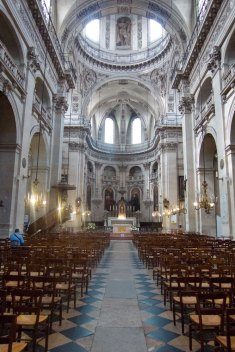 St. Paul/St. Louis is a surprisingly good find on the Rue de Rivoli. It seems to combine Catholocism with some Paganism. Look carefully at the details as the Jesuits influenced the church.