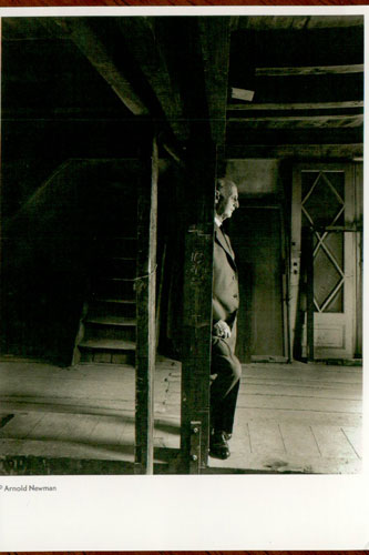 The postcard comes from the Anne Frank House. Otto Frank stands alone.