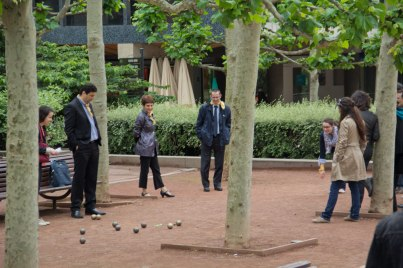 They were playing petanque (boules) on their lunch hour. I think we need to get a set for work.