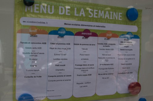 Our guide pointed out this menu to show that even pre-school children have course menus. I am jealous.
