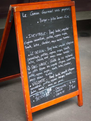 Le Camion Gourmand Menu